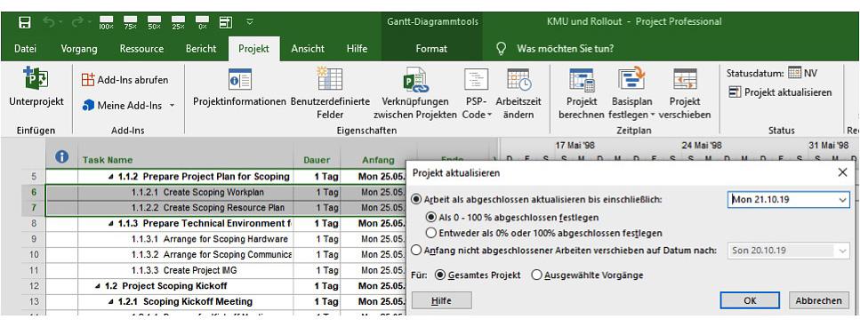 Projektplan im MS-Project